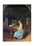 A Young Woman Playing a Harpsichord  C1659