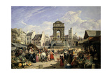 Market and Fountain of the Innocents  Paris  1823