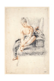 Young Woman  Nude  Holding One Foot in Her Hands  1716-18