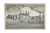 View the Tower of London from the River Thames with Boats on the River  1795