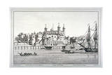 South View of the Tower of London with Boats on the River Thames  1795