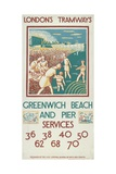 Greenwich Beach and Pier  London County Council (Lc) Tramways Poster  1925