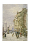 View East Along Holborn with Figures and Horse-Drawn Vehicles on the Street  London  1875
