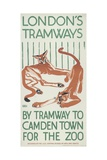 By Tramway to Camden Town for the Zoo  London County Council (Lc) Tramways Poster  1924