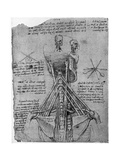 Rear View of a Skeleton Showing the Sinews of the Neck, Late 15th or Early 16th Century Giclée par Leonardo Da Vinci