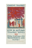 Kew in Autumn  London County Council (LC) Tramways Poster  1925