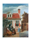 Three Women and a Man in a Courtyard Behind a House  C1657-1659