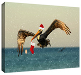 christmas pelican1 Gallery-Wrapped Canvas
