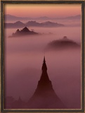 Pagoda in the Mist at Mrauk-U  Burma