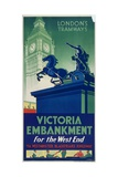 Victoria Embankment  London County Council (LC) Tramways Poster  1932