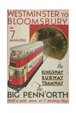 Westminster to Bloomsbury  the Big Penn'Orth  London County Council (LC) Tramways Poster  1932