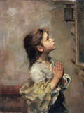 Praying Girl  Italian Painting of 19th Century