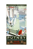 Putney  for River and Heath  London County Council (LC) Tramways Poster  1932