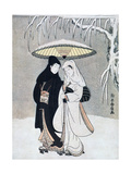 Crow and Heron  or Young Lovers Walking Together under an Umbrella in a Snowstorm  C1769