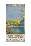Kenwood and Highgate Ponds  London County Council (LC) Tramways Poster  1927