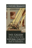 Tate Gallery  National Gallery  London County Council (LC) Tramways Poster  1927