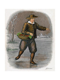 Dutch Man Skating with a Basket of Vegatables  1809
