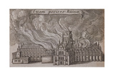 St Paul's Cathedral  London  on Fire  1666