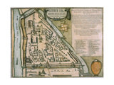Map of the Moscow Kremlin (Castellum Urbis Moskva)  Russia  1597