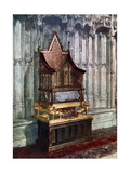 The Coronation Chair  with the Stone of Scone  Westminster Abbey  London  1937