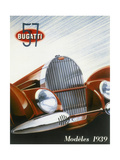 Poster Advertising Bugatti Cars  1939