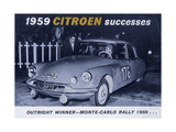 Poster Advertising the Citroën Monte Carlo Rally Winner  1959