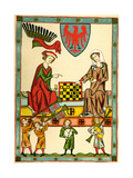 Margrave Otto IV of Brandenburg Playing Chess (From the Codex Maness)  C1300