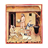 The Production of Cheese a Miniature from Tacuinum Sanitatis  Second Half of 14th C