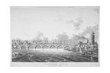 View of Blackfriars Bridge from the Strand Bridge  London  1815