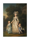 Queen Marie Antoinette of France and Two of Her Children Walking in the Park of Trianon  1785
