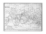 Map of the World Showing Sailing Routes and Telegraph Cables  C1893