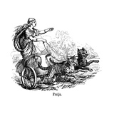Freya (Frig) Goddess of Love in Scandinavian Mythology  Driving Her Chariot Pulled by Cats
