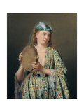 Portrait of a Lady of the Court Playing the Tambourine  Second Half of the 19th C