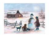 Happy Snowman Reproduction d'art par Vickie Wade
