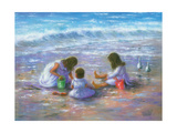 Finding Sea Shells Brunettes Reproduction d'art par Vickie Wade