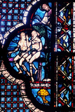 God Confronts Adam and Eve  Stained Glass  Chartres Cathedral  France  1205-1215