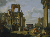 Architectural Capriccio of the Roman Forum with Philosophers and Soldiers Among Ancient Ruins