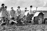 British Girls of the Women's Land Army Learning to Plough with a Tractor  World War II  1939-1945