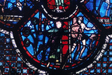 Expulsion from Eden  Stained Glass  Chartres Cathedral  France  1205-1215
