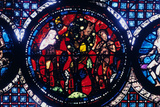 Adam and Eve (The Fall of Ma)  Stained Glass  Chartres Cathedral  France  1194-1260