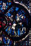 The Pilgrim Attacked by Thieves  Stained Glass  Chartres Cathedral  France  1205-1215