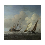A Dutch Ship  a Yacht and Smaller Vessels in a Breeze  C 1660