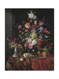 Flowers in a Glass Vase on a Draped Table  with a Silver Tazza  Fruit  Insects and Birds
