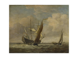 Two Small Vessels and a Dutch Man-Of-War in a Breeze  C 1660