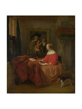 A Woman Seated at a Table and a Man Tuning a Violin  C 16571658