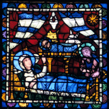 The Nativity  Stained Glass  Chartres Cathedral  France  1194-1260