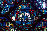 Combat Between Roland and King Marsile  Stained Glass  Chartres Cathedral  France  1194-1260