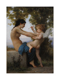 A Young Girl Defending Herself Against Eros, 1880 Giclée par William-Adolphe Bouguereau