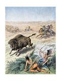 North American Indians Hunting Buffalo  C1870