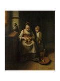 A Woman Scraping Parsnips  with a Child Standing by Her  1655